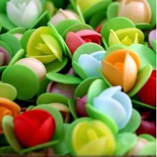Вафельные цветы - Пионы на трилистнике, Микс, 10шт. (10/8965)