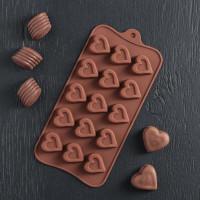 Силиконовая форма для конфет - Сердечко (1000380)