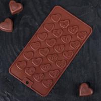 Силиконовая форма для конфет - Сердечки (114002)