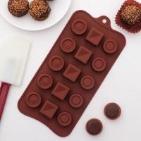 Силиконовая форма для конфет - Кружочки, квадратики (3624970)