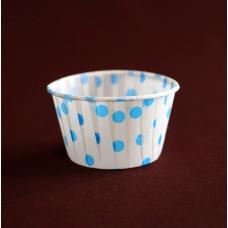 Бумажная форма - Маффин, белый фон синий горох, 100шт