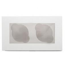 Упаковка с окном на 2 капкейка - Белая, 10*16*h10см. (SP CUP2)