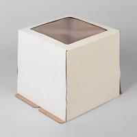 """Упаковка для торта с окном """"Квадрат"""" - Белая,23*23*22см. (SP 23*23*22)"""