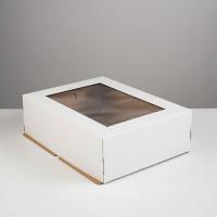 Упаковка для торта с окном  - Белая, 29*39*12см. (SP 29*39*12)