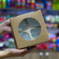 Упаковка c окном на 4 капкейка - Крафт, 16,5*16,5*h11см. (ECO MUF4)