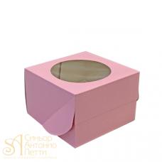 Упаковка c окном на 4 капкейка - Розовая, 16,5*16,5*H11СМ. (SP CUPO4В)