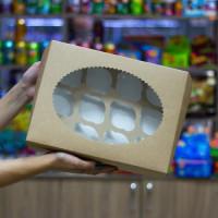 Упаковка c окном на 12 капкейков - Крафт, 25*33*h11см. (ECO MUF12)
