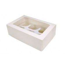 Упаковка с окном на 6 капкейков - Белая, 16,5*25*h11см. (SP CUP6)