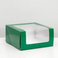 Коробка для торта Мусс, 235*235*115мм., Темно- зеленый