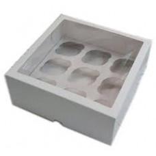 Упаковка с окном на 9 капкейков - Белая, 25*25*h10см. (SP CUP9)