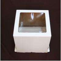 """Упаковка для торта с окном """"Квадрат"""" - Белая,25*25*24см. (SP 25*25*24)"""