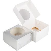 Упаковка  на 4 капкейка - Серебро, 16,5*16,5*h11см. (SP CUPO4)
