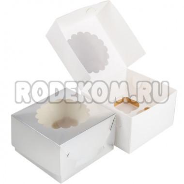 Упаковка c окном на 4 капкейка - Серебро, 16,5*16,5*h11см. (SP CUPO4)