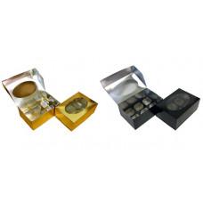 Упаковка c окном на 6 капкейка - Золотая, 23*16*10см. (SP CUPO6)