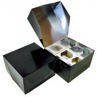 Упаковка на 4 капкейка - Черная, 16,5*16,5*h11см. (SP CUPO4)