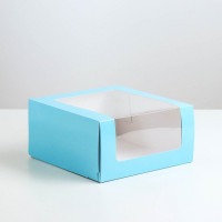 Коробка для торта Мусс, 235*235*115мм., Голубой