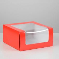Коробка для торта Мусс, 235*235*115мм., Красный