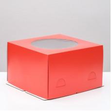 Упаковка для торта   - Красная, 30*30*h19см.