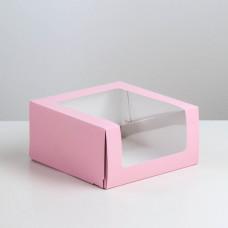 Коробка для торта Мусс, 235*235*115мм., Розовый