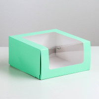Коробка для торта Мусс, 235*235*115мм., Зеленый