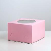 Упаковка для торта   - Розовая, 30*30*h19см.