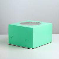 Коробка для торта зеленая, 30*30*h19см.