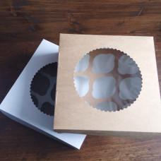 Упаковка с окном на 9 капкейков - Крафт, 25*25*h10см. (ECO MUF9)