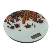 """Весы электронные кухонные LuazON LVK-701 до 7 кг, круглые, стекло, """"Корица""""(3549051)"""