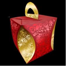 """Коробка для кулича """"Узор Хозломы""""(43090 красный)"""