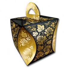 """Коробка для кулича """"Узор Хозломы""""(43091 черный)"""