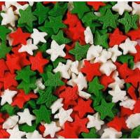Посыпка кондитерская - Звезды красные, белые, зеленые, 50гр. (50/tp15772)