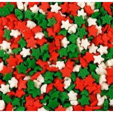Посыпка кондитерская - Звезды красные, белые, зеленые (мини) 50гр. (50/tp15802)