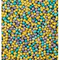 Посыпка кондитерская - Шарики голубые, лиловые, желтые перламутровые, 1кг. (20202)