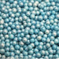 Сахарные бусинки - Голубые перламутровые, 5мм. 50гр. (50/152030)
