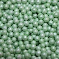 Сахарные бусинки - Зеленые перламутровые, 5мм. 50гр. (50/152010)