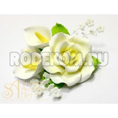 """Цветы из мастики - """"Роза и Калы"""" (11058/p)"""