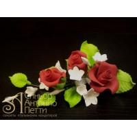 """Цветы из мастики - """"Букет роз с колокольчиками"""", Красный (11101/p)"""