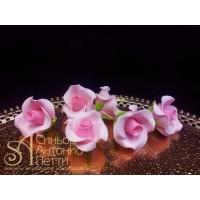 """Цветы из мастики - """"Бутоны розы"""", Розовые, 6шт. (11113*B/p)"""