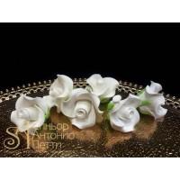 """Цветы из мастики - """"Бутоны розы"""", Белые, 6шт. (11113*G/p)"""