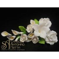 """Цветы из мастики - """"Букет цветов"""", Белый (11135*G/p)"""