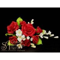 """Цветы из мастики - """"Букет роз"""", Красный (11137*D/p)"""