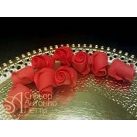 """Цветы из мастики - """"Бутоны розы"""", Красные, 9шт. (11145*D/p)"""