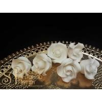 """Цветы из мастики - """"Бутоны розы"""", Белые, 6шт. (11146*G/p)"""