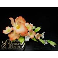 """Цветы из мастики - """"Букет орхидей"""", Оранжевый (11176*Q/p)"""
