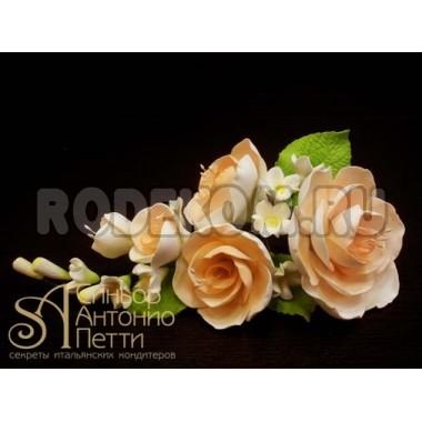 Цветы из мастики - Букет роз, Чайный (11180*Mi/p)