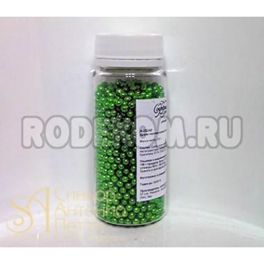 Сахарные бусинки - Зеленые перламутровые, 4мм. 100гр. (AI 28240/р)