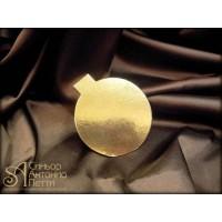 Круглые золотые подложки с ручкой, 8см. 200шт. (Plate 08)