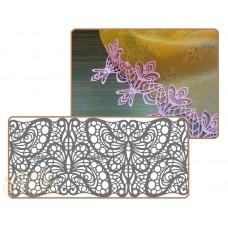 Рельефный силиконовый коврик для создания кружев - Бордюр с бабочками, 10*40см. (40-WD003T)