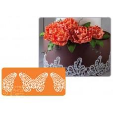 Рельефный силиконовый коврик для создания кружев - Бабочка, 7,5*40см. (40-WD017T)