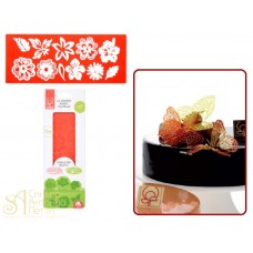 Рельефный силиконовый коврик для изомальта - Цветочный микс (31226)